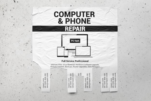 Квадратный отрывной макет рекламного флаера