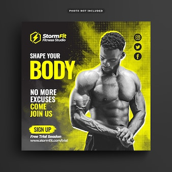 Square template of fitness gym advertising for social media post