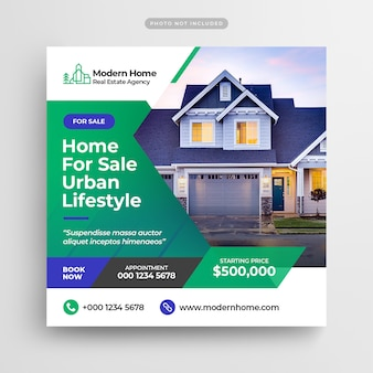 Square template of real estate advertising for social media post
