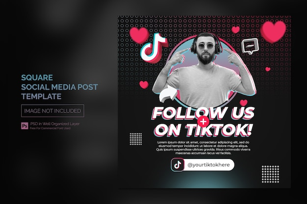 Square tiktok social media promotion post or web banner template