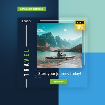 Square travel banner ads. social media ads and post