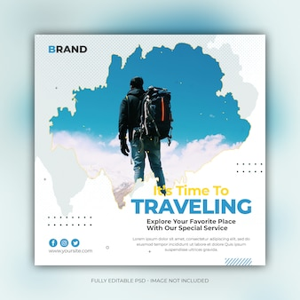 Square travel banner template