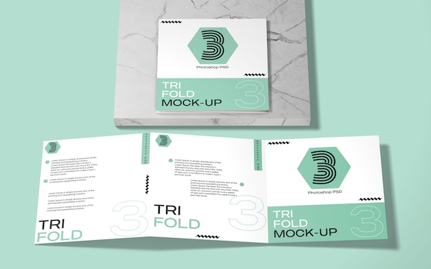 Square tri-fold brochure mockup on marble