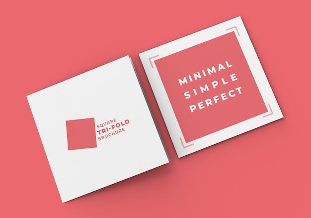 Брошюра square tri fold макет