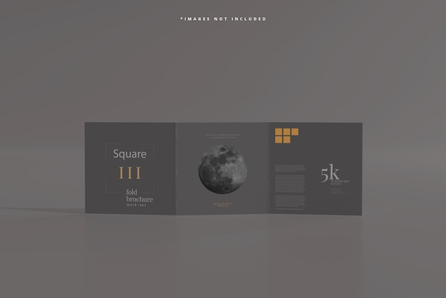 Мокап брошюры square tri fold