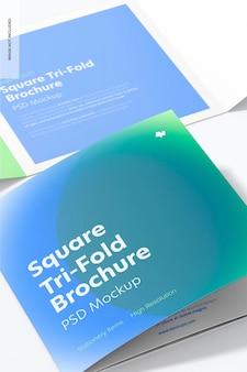 Square tri-fold brochures mockup, close up