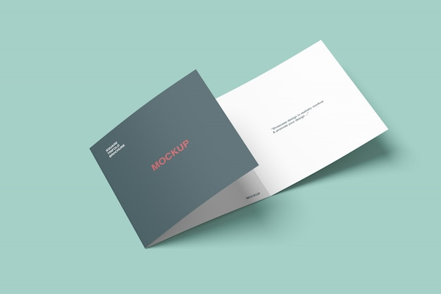 Square trifold brochure mockup high angle view