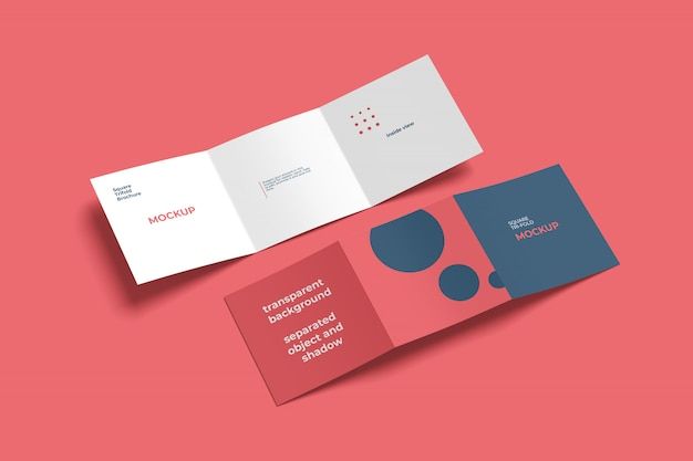 Square trifold brochure mockup in and out view