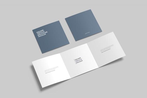 Квадратный тройной макет брошюры установлен высокий угол обзора