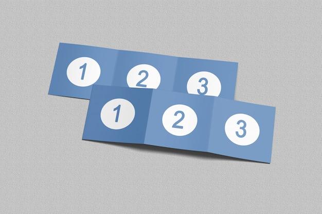 四つ折りパンフレットのモックアップ