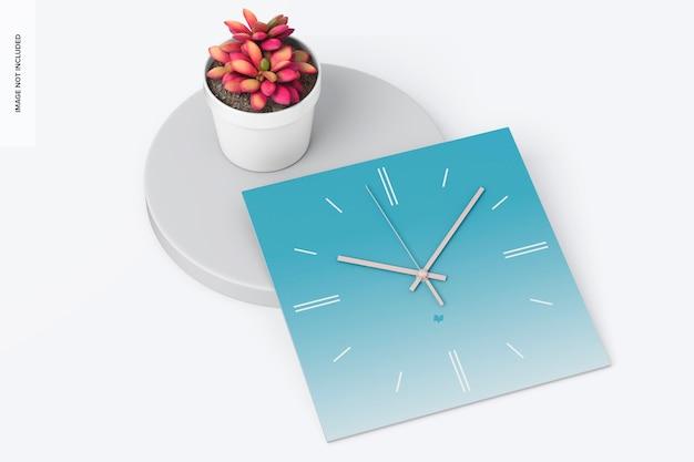 正方形の壁時計のモックアップ、上面図