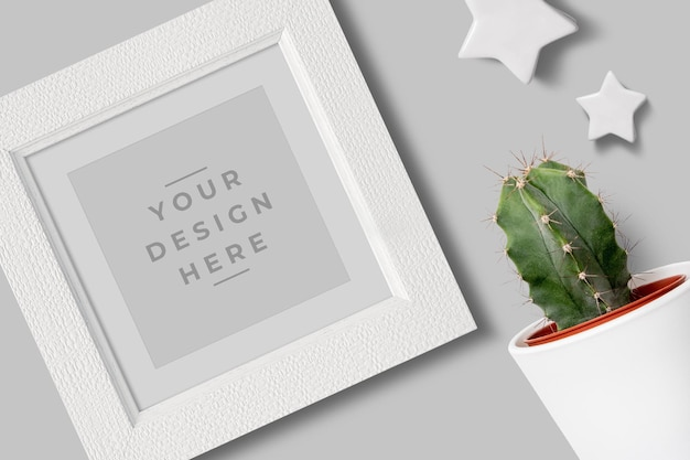 Square white photo frame mockup