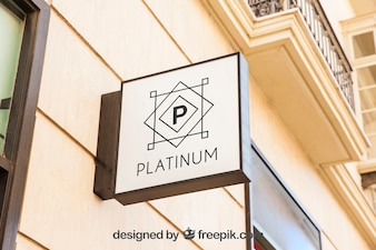 Square white shop sign mockup
