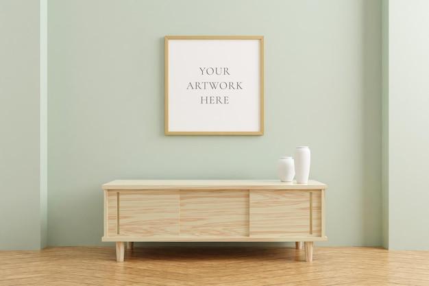 Квадратный деревянный макет рамки плаката на деревянном столе в интерьере гостиной на пустом фоне стены пастельных тонов. 3d-рендеринг.