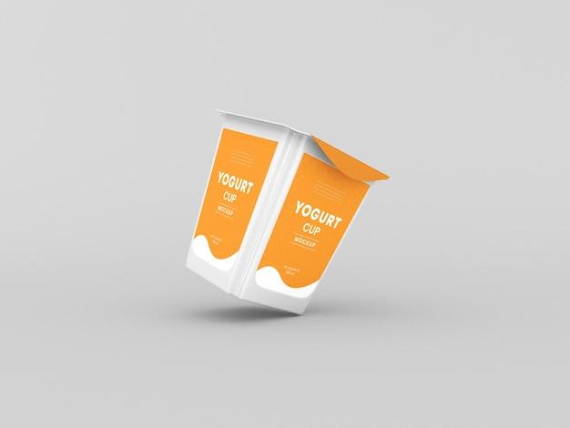 Square yogurt cup packaging mockup