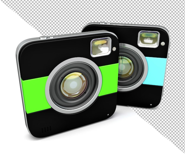 Squared camera isolated 3d illustration