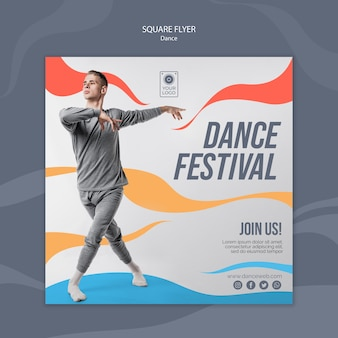Squared flyer for dance festival with performer