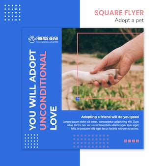 Squared flyer template for adopting a pet with dog paw