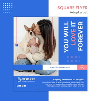 Squared flyer template for adopting a pet with dog Free Psd