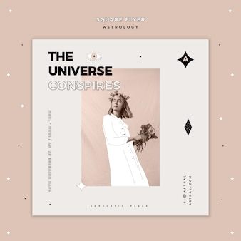 Squared flyer template for astrology