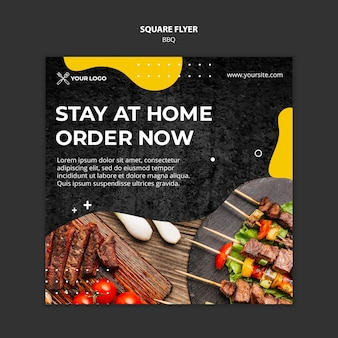 Squared flyer template for barbecue restaurant