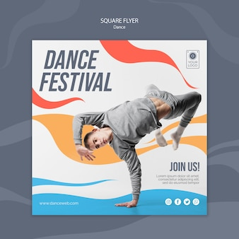 Squared flyer template for dance festival with performer