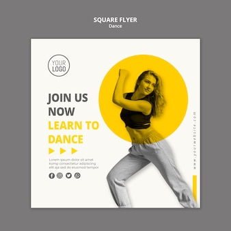 Squared flyer template for dance lessons