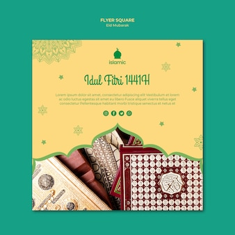 Squared flyer template for eid mubarak