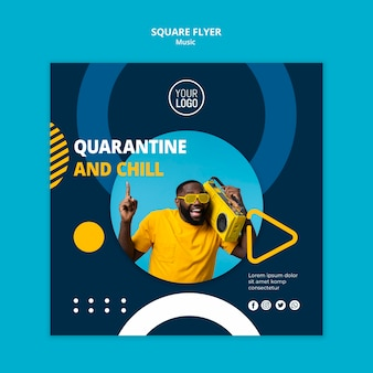 Squared flyer template for enjoying music during quarantine