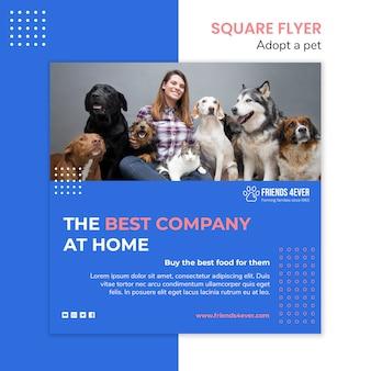 강아지와 함께 애완 동물을 채택하기위한 제곱 전단지 템플릿