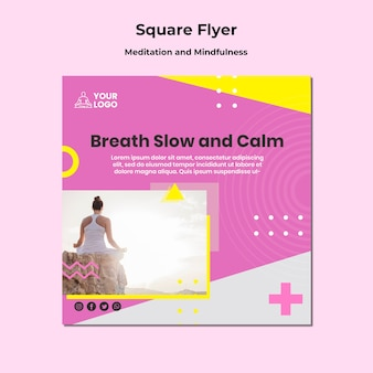 Шаблон флаера в квадрате для медитации и осознанности