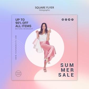 여름 판매를위한 제곱 된 전단지 서식 파일