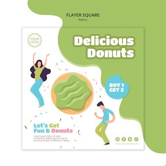 Квадратный шаблон флаера для сладких запеченных пончиков