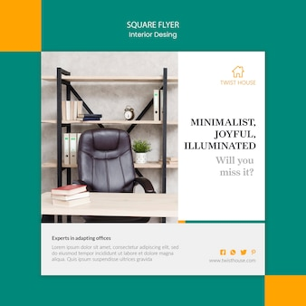 Squared flyer template for interior design