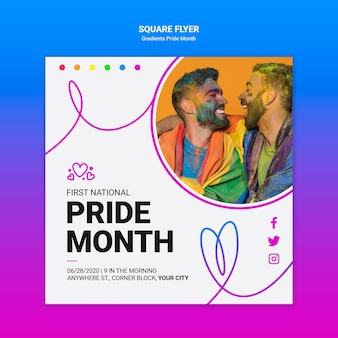 Squared flyer template for lgbt pride