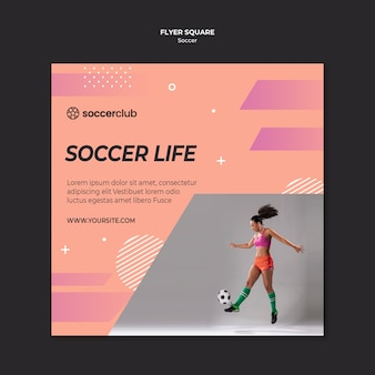 Squared flyer template for soccer player