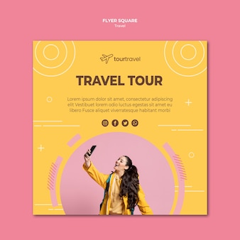 Squared flyer template for travel tour