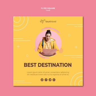 Squared flyer template for traveling