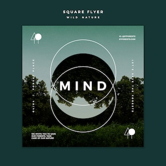 Squared flyer template for wild nature