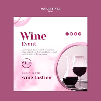 Squared flyer template for wine tasting