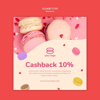 Squared flyer template with macarons Free Psd