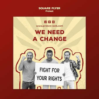 Squared flyer template with protesting for human rights