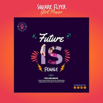 Squared flyer template for women's day with empowering message