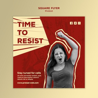 Squared flyer with protesting for human rights