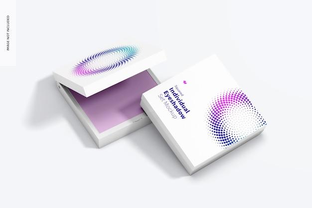 Квадратный индивидуальный макет набора теней для век, открытый и закрытый