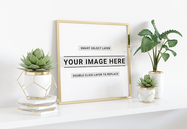 Squared photo frame laying on shelf mockup