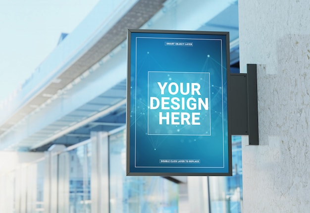 Squared store sign in street mockup