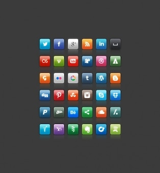 Squares icons in color of many social sites