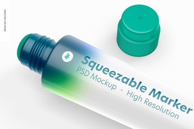 Squeezable marker mockup, close up