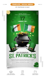 St. patrick's day flyer template for social media stories
